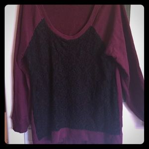 Torrid maroon sweatshirt with black lace front
